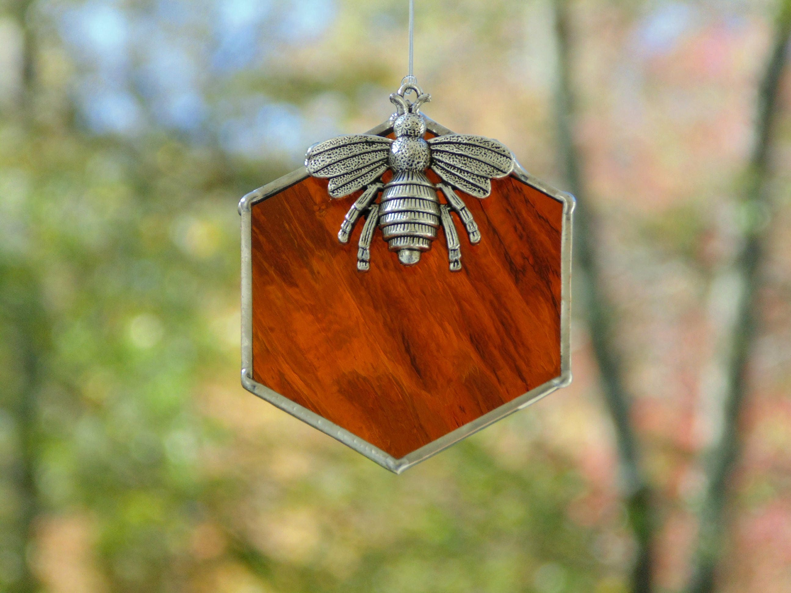 Stained Glass Bee Suncatcher Beehive Honeycomb Queen