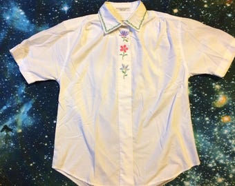 Vintage Embroidered Flowers Button Up Collared Shirt