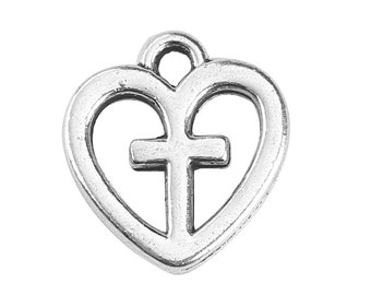 6 Heart with Cross Charms, Antique Silver Tone (1H-215)