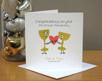 Personalised 8th Anniversary Card - Bronze Anniversary Card - Funny Anniversary Card - Cartoon - For Husband/Wife - For Couple - For Him/Her