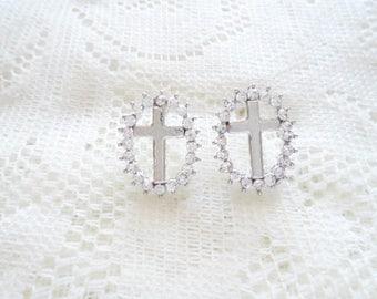 Silver Cross stud earring, Silver & Crystal earring