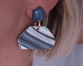 Large, statement earrings.Geometric earrings.Dangle, drop earrings.Blue, pastel colour earrings.Geometric jewelry.Statement jewellery.