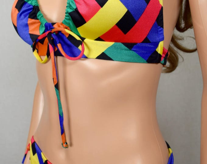 Vintage 1970's Dotty Mann PsYcHeDeLiC Rainbow Neon Striped HiPPiE MOD ReTrO Disco BiKiNi SWiMSuiT Size XS S