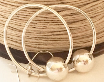 Sterling Silver Large Hoop Earrings with Silver Orb Bead, Handmade