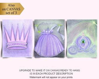 Princess Nursery, Royal Crown, Cinderella Coach, Dress Wall Art, Purple, SET 3, Baby Girl Nursery, Girls Room Wall Decor, Princess Wall Art