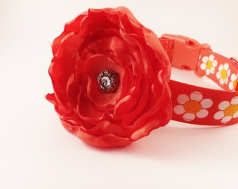 Orange Floral Dog Collar and Flower,Dancing Daisies, Adjustable Sizes from Small. Medium, Large, to Extra Large Dogs Handmade