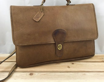 COACH Briefcase Brown Leather Shoulder Bag Made in New York City