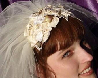 AUDREY HEPBURN 1960'S Bridal Headpiece, Swan Lake Ballet Style, Wedding Tiara of White Lilies  Pearls and Crystal Stamen