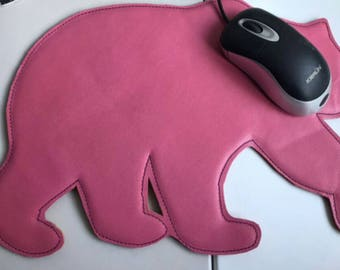 Leather mouse pad. Leather bear mouse pad. Handmade mousepad.