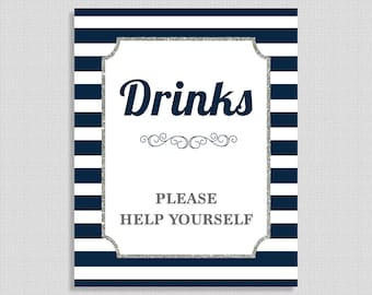 Drinks Sign, Navy & White Stripe Baby Shower Beverage Sign, Silver Glitter, INSTANT PRINTABLE