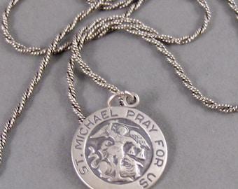 Saint Michael,Necklace,Men,Jewelry,Saint,Michael,Medal,Silver,Sterling Silver,Saint Necklace,Mens Saint Micheal Necklace,Valleygirldesigns.