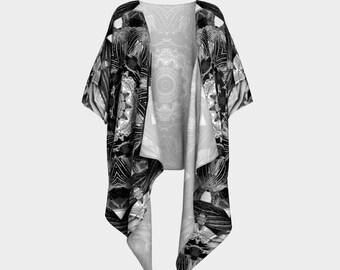 Kimono Robe in Black and White Kaleidoscope design in chiffon or knit