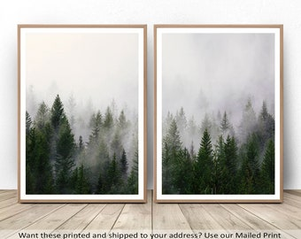 Forest Decor, Forest Poster, Nature Print, Set Of 2, Landscape 2 Piece Set,  Forest Mountain, Forest Photography, Forest Fog, Nature Wall Art