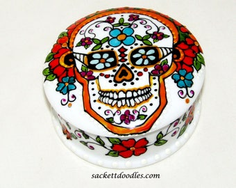 Day of the Dead Sugar Skull Trinket Box Mexican Folk Art Jewelry Vanity Box Hand Painted Porcelain Box