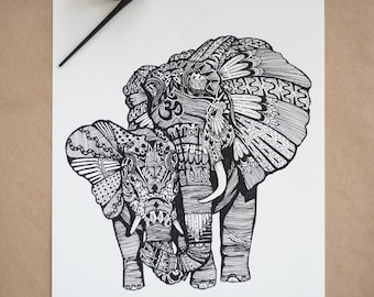 Elephants - Giclée art print