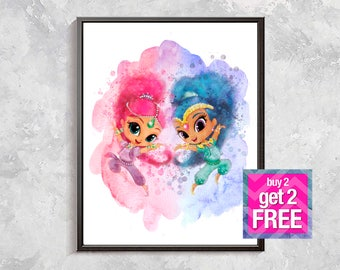 Shimmer and Shine Print, Shimmer and Shine poster, Shimmer and Shine Watercolor, Shimmer and Shine party decor, Shimmer and Shine nursery