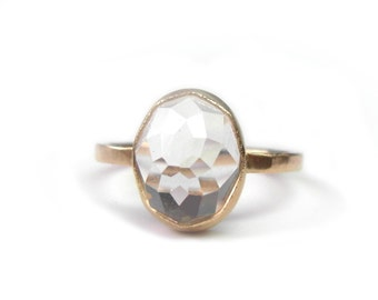 Crystal Quartz Stacker Ring, Handmade with Recycled 14k Gold, stackable oval ring, affordable Engagement Ring