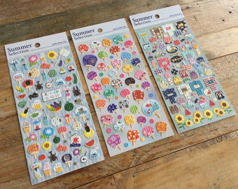 Cute Summer Collection sheet of Washi Sticker- Traditional Japanese Summer for Journaling, scrapbooking, Gift Packaging, Party favor