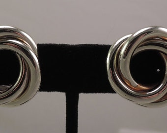 Signed Coro Gold Tone Clip Swirl Earrings 1950s