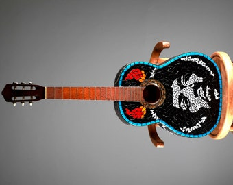 Guitar decorated with glass mosaics / Decorated mosaic guitar