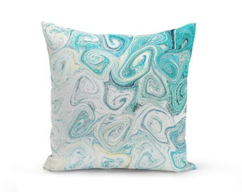 Teal Pillow Cover Accent Pillow Cover Throw Pillow Cover Decorative Pillow Cover Teal White Yellow Cushion Cover Couch Pillow Cover