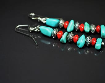 FREE SHIPPING,blue turquoise earrings,boho style earrings, bohemian earrings, turquoise dangles, turquoise and silver earrings