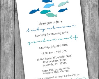 Rainbow fishfish baby shower invitation fish baby shower invitation 5x7 printable pdf jpg filmwisefo