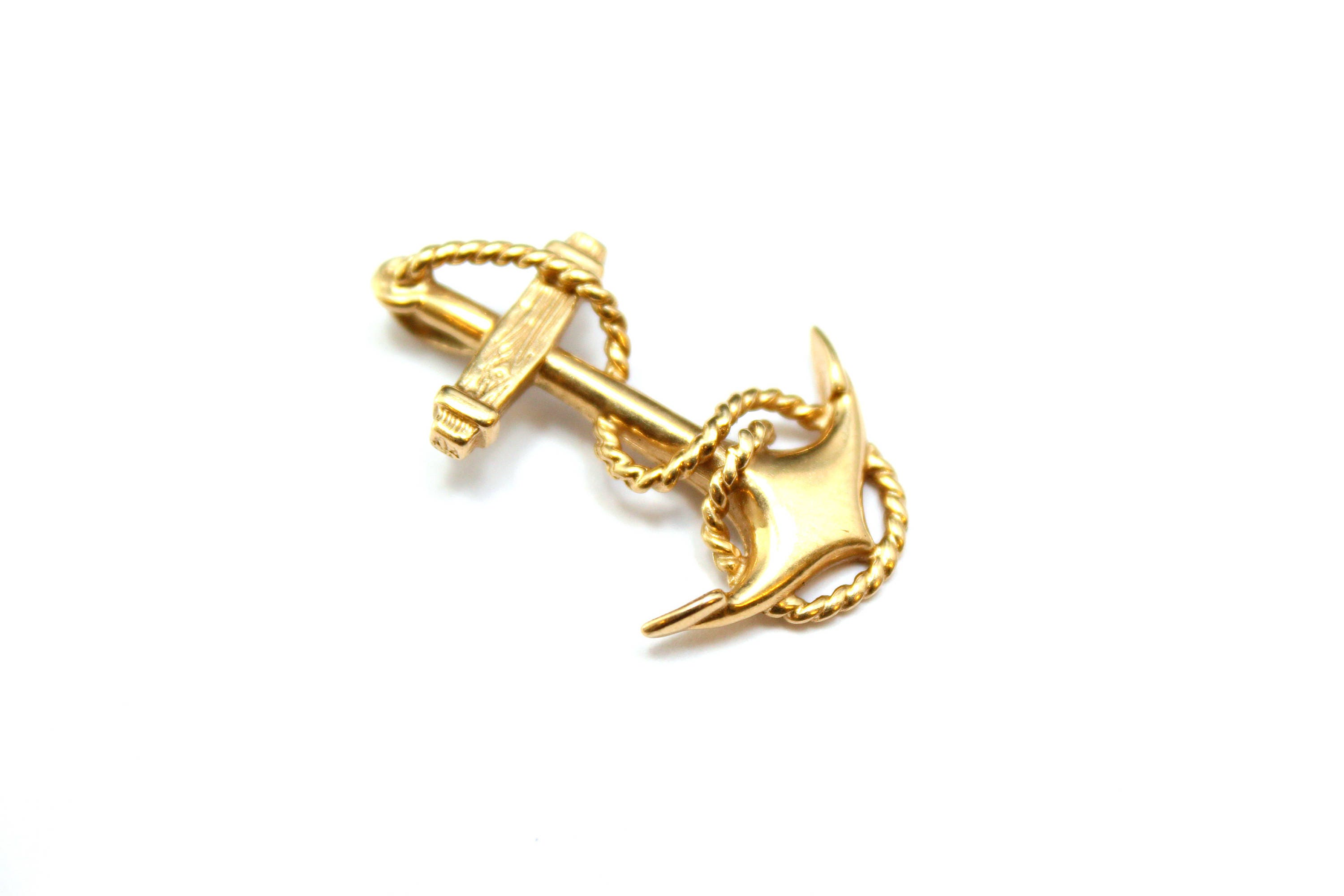 14k Yellow Gold Anchor Pendant Nautical Gold Jewelry 14k