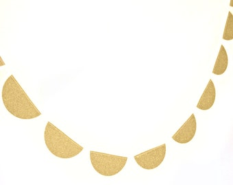 Gold glitter scallop garland,  - shimmer garland, gold shimmer garland, glitter bunting, gold glitter wedding, party decor,