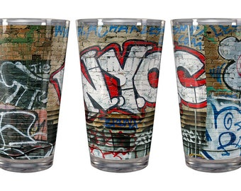 Andre Charles NYC Graffiti Wall Pint Glass