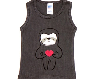 Asphalt Sloth Love Tank 3-6m to 12-18m ON SALE
