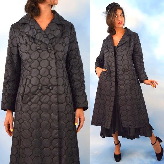 Vintage 60s Black Satin Hexagonal Honeycomb Embroidered Trench Coat (size small, medium)
