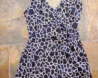 vintage BLACK and WHITE SWIMSUIT maxine of hollywood pin up suit S