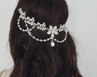 Flower Headpiece. Bridal Headpiece, Wedding Headdress, Crystals and Pearls Headdress, hair vine, flower drop hair chain, boho headpiece
