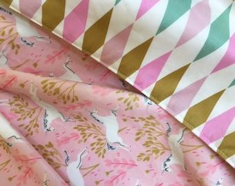 Minky Blanket Unicorns Pink Gold Blanket  Baby Nursery Stroller Shower gift Sarah Jane Minky Nostalgia by Jennifer Paganelli