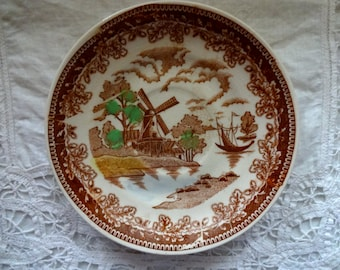 Handpainted Japanese Saucer depicting Old Dutch Scene with Windmill