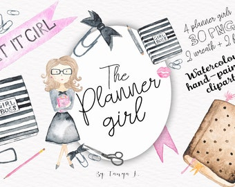 Girly Clipart, Planner Girl Clipart, Hand-Painted Clipart, Commercial Use Clipart, Fashion Clipart, Planner Girl Illustration, Pink , Blue