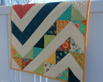 Large Zig Zag Quilt, Custom Quilted Small Quilted Wall Hanging