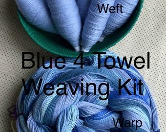 Blue Striped Weaving Kit for 4 Towels, Weaving Loom Kit, How to Weave Kit, Loom Weaving, DIY Weaving Kit, Pre-wound Warp, Handweaving