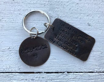 Hand Stamped Keychain - Gift for Him - Gift for Her - Personalized Gift