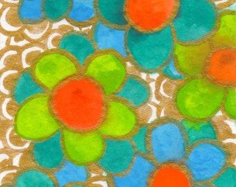 Plain Pretend : Original Watercolor & Ink Painting of Plain Simple Flowers