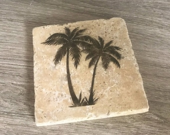 Palm Tree Stone Coasters, Stone Coasters, Palm Trees, Palm Tree Coasters, Coasters, Palm Tree Barware, Palm Tree Drinkware, Palm Tree Art