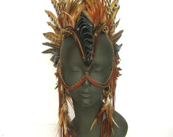 Warrior FeatherHeadpiece,Shaman Headdress,feather mohawk,wing headpiece by Renegade Icon;Rara Avis Collection