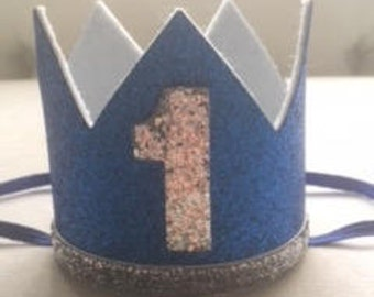 First Birthday Hat,  Blue and Silver Crown, Photo Prop, Baby Boy Cake Smash, First birthday Crown, Boy Birthday Hat, Prince Birthday Crown