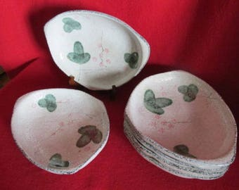 Hand Painted -Japan - Pottery Ceramic Stoneware 'Free Form' Plates