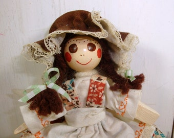 Vintage Prairie Clothes Pin Doll, Ornament, Handcrafted, Handmade, Jointed, Brown Patchwork Dress, Bonnet, Brown Eyes, Brown Hair   (742-15)