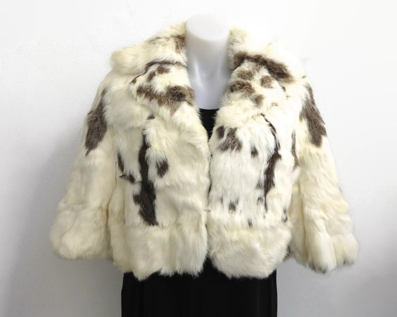 Vintage off-white and brown rabbit fur cape / shrug / stole / wrap, revere collar, faux sleeves, Universal Fur Company, circa 1960s