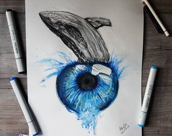 ORIGINAL DRAWING - Surreal whale eye