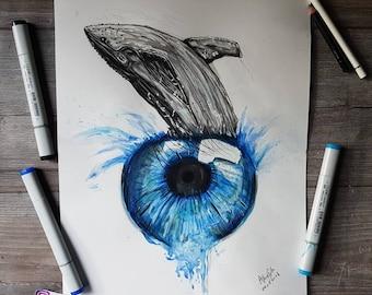 ORIGINAL DRAWING - Surreal whale eye