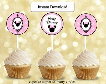 pink and black minnie mouse birthday cards ,,cupcake topper ,favor tag circles , instant download